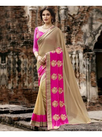 RE - Latest Pink and Beige color Georgette Fancy Saree