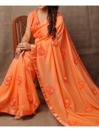 JF - Floral Orange Georgette Ribbon-Work Beautiful Saree