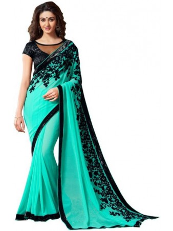 KF - Appealing skyblue georgette saree