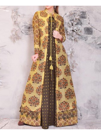 RE - Designer multi color chanderi printed & heavy rasberry foil kurti