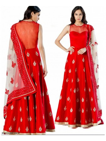RC - Delightful Red Banglori Silk Semi Stitched Anarkali Dress