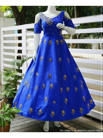 RE - Heavenly Blue Taffeta Silk Fancy Hand work Gown
