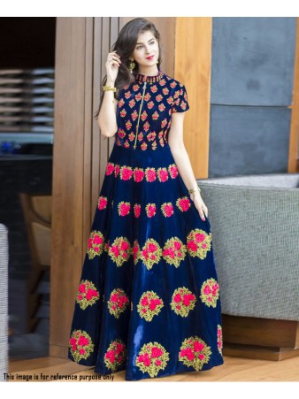 RE - Mellifluous navy blue banglori silk thread work gown