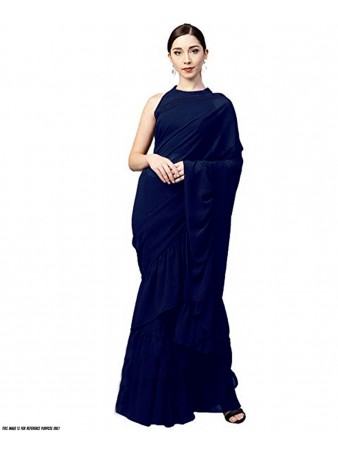 RE - Plain blue 60GM Georgette silk ruffle saree