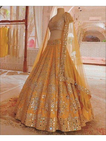 RE - Yellow Colour Embroidered Party wear Lahenga