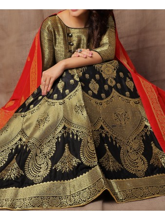 RE - Evergreen Jacquard Silk Black lehenga choli