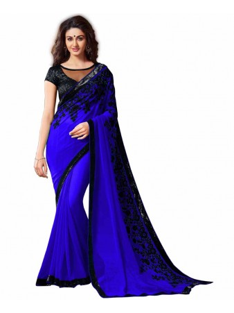 GS - Awesome Blue Embroidery Georgette saree with blouse