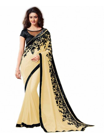 GS - Awesome Cream Embroidery Georgette saree with blouse