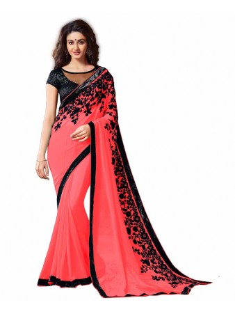 GS - Awesome Light Red Embroidery Georgette saree with blouse