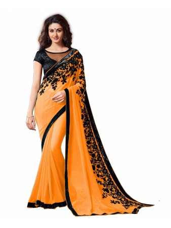 GS - Awesome Orange Embroidery Georgette saree with blouse