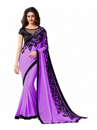 GS - Awesome Purple Embroidery Georgette saree with blouse