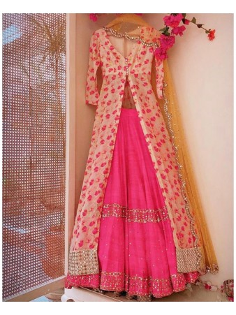 RE - Stylish pink banglori silk digital printed indo western