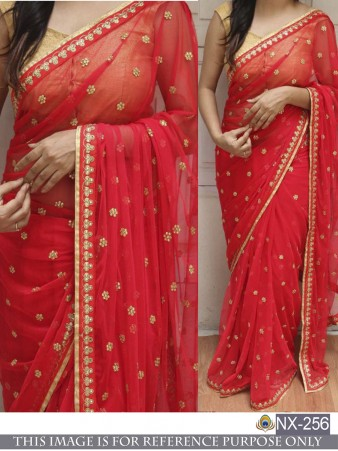 Rimzim Enterprise - Stylish Red Georgette Dori work and Thread work Saree