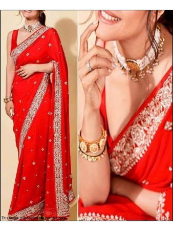 PF - Celebrity style red vichitra silk embroidered saree