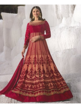 RF - Prachi Desai Red Net With Georgette Satin Abaya Style Anarkali Suit