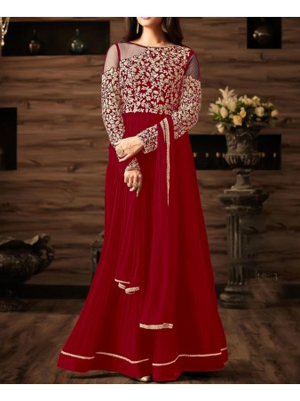 RF - Red Georgette Abaya Style Anarkali Suit