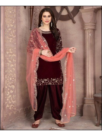 RF - Maroon Velvet Embroidered Patiyala Style Suit