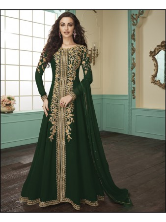 RF - Green Anarkali Georgette Straight Pant Suit