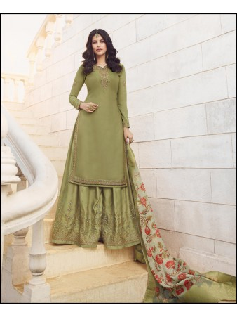 RF - Super Model Mehndi Green Muslin Georgette Satin Sharara Style Suit