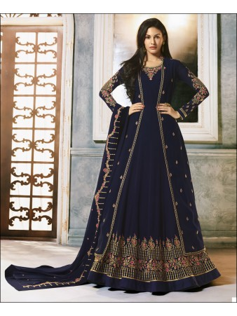 RF -Blue Faux Georgette Jacket style Anarkali Suit
