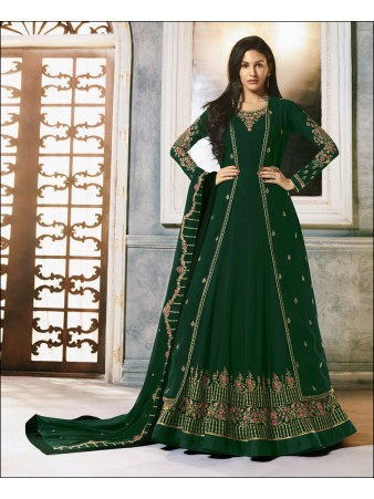 RF -Green Faux Georgette Jacket style Anarkali Suit
