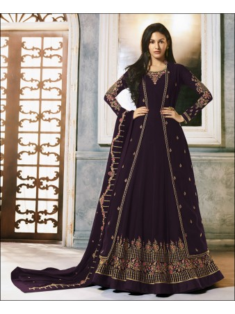 RF -Purple Faux Georgette Jacket style Anarkali Suit
