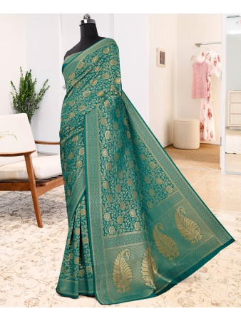 RE - Winsome Turquoise pure jacquard silk weaving saree