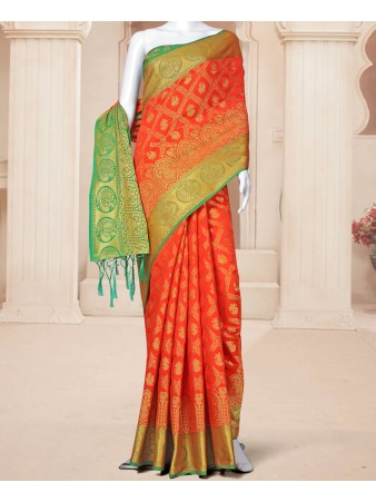 RE - Zestful Orange Banarasi Silk jacquard weaving saree