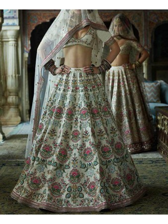 RE - Traditional white silk embroidered lehenga
