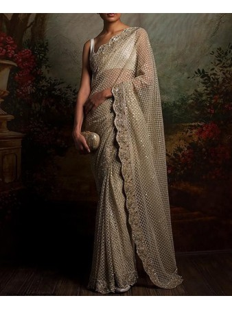 RE - Diva white sequence embroidered saree