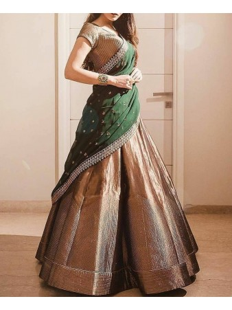 RE - Solid Golden Gota Jari Work Lehenga Choli