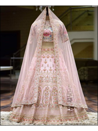 VF - Heavy Viking silk baby pink embroidered sequence lehenga