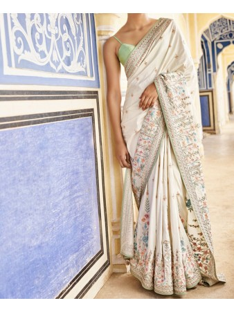 RE - Glamour white sana silk embroidered saree