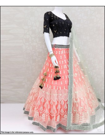 VF - Stunning peach net sequence zari embroidery lehenga