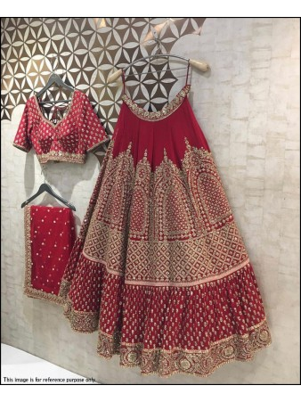 VF - Bridal Red blumming faux georgette jari embroidered lehenga