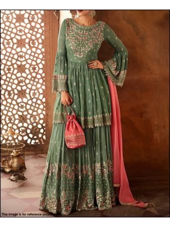 VF - traditinal olive green multi color thread embroidered sharara suit