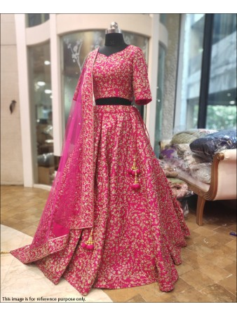 RE -  Rani Pink Colored Barfi Silk Embroidered Work Lehenga