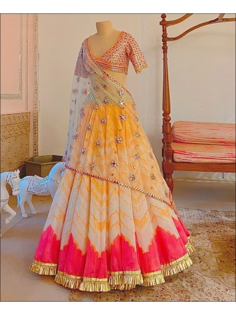 RE - Gorgeous Multi Colored Cotton Silk Lehenga Choli