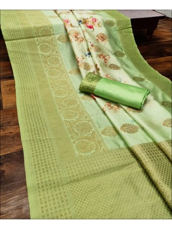 RE - Captivating Green Colored Lichi Jaquard Silk Saree