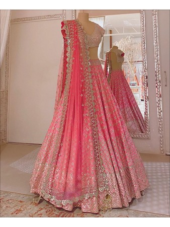 RE - Pink Coloured Heavy Mouch Silk Mirror Work Lehenga Choli