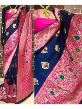 BF - Traditional Blue Banarasi kota silk saree with blouse
