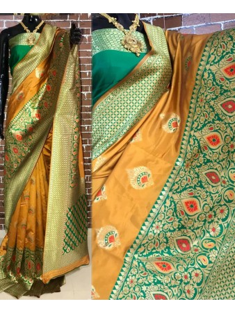 BF - Traditional Yellow Banarasi kota silk saree with blouse