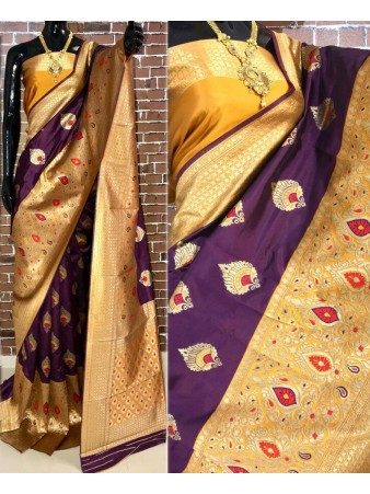 BF - Traditional Purple Banarasi kota silk saree with blouse